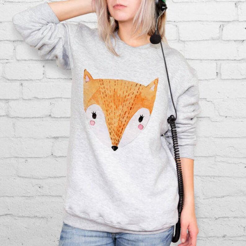 Fox Sweatshirt Animal Lovers Printed Sweater Aesthetic Clothing Animal Print Fox Print Unisex Clothing Sweatshirt Gift For Him YP3038