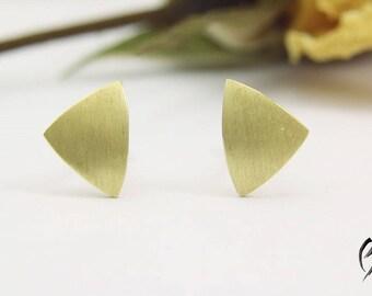 Earrings gold 585/used 7.5 mm, stroke Matt, handmade