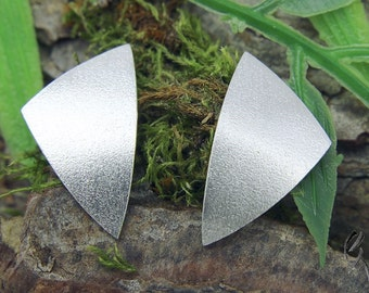 Earrings Silver 925 /-, large triangle, Matt tagged beat