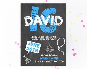 16th Birthday Invitation Boy Chalkboard Invite Teen Party Number 16