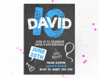 10th Birthday Invitation Boy Chalkboard Tenth Invite Teen Party Number 10