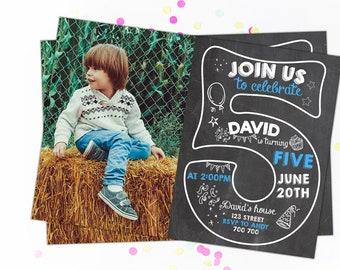 fifth birthday invitation boy birthday invitations 5th etsy