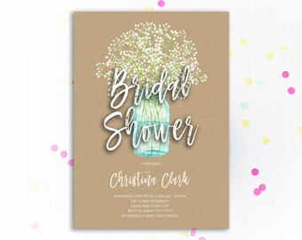 Mason jar bridal shower invite etsy rustic bridal shower invitation kraft bridal shower invite printable wedding mason jar calligraphy babys breath floral wedding shower filmwisefo