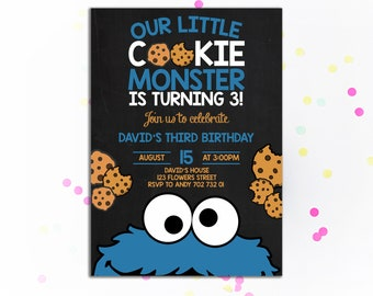 Cookie Monster Invitation Birthday Invite Boy Invitations Chalkboard Cookies The Word Is Out 2nd