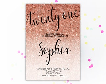21st birthday invitations etsy