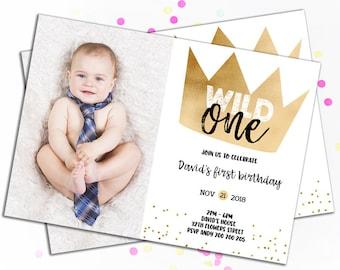 1st birthday invitations boy etsy wild one birthday invitation photo birthday invitations gold crown wild things birthday party printable boy 1st birthday first birthday filmwisefo