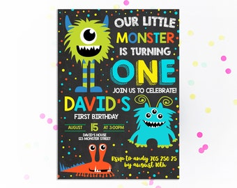Monster Birthday Invitation 1st Invitations First Invite Boy Party Little Kids