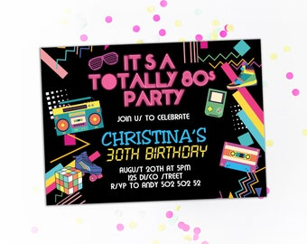 80s Birthday Party Invitation Themed Invitations Totally Retro I Love The Disco Invite