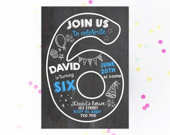 Sixth Birthday Invitation Boy Invitations 6th Number 6 Chalkboard Invite Chalk Lettering Printable