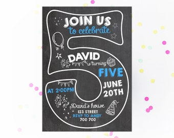 Fifth Birthday Invitation Boy Invitations 5th Number 5 Chalkboard Invite Chalk Lettering Printable