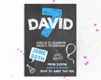 7th Birthday Invitation Boy Chalkboard Seventh Invite Party Kids