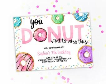 donut birthday party invitation girl birthday invite etsy