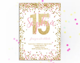 Girl 15th Birthday Invitation Pink And Gold Fifthteenth Invite Glitter Confetti Invitations Blush Teen Girls