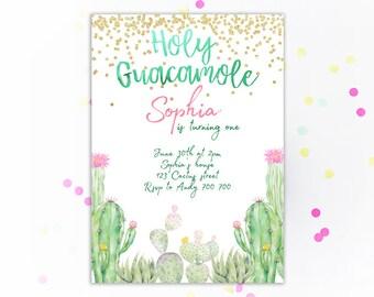 Kids birthday invite etsy cactus birthday invitation holy guacamole birthday invitation fiesta kids birthday invite childrens party invitations cacti any age filmwisefo