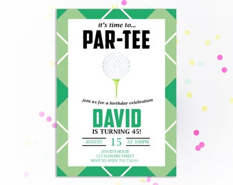Golf Birthday Invitation ParTEE Invite Theme Adult Invitations Printable Golfing Men Party