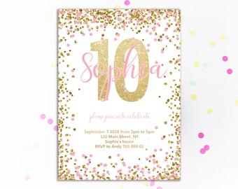 Girl 10th Birthday Invitation Pink And Gold Tenth Invite Glitter Confetti Invitations Blush Invites Kids DIY