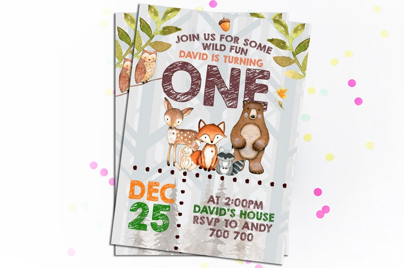 Woodland Birthday Invitation Forest Friends Adventure