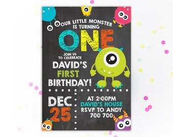 Monster party invite Etsy