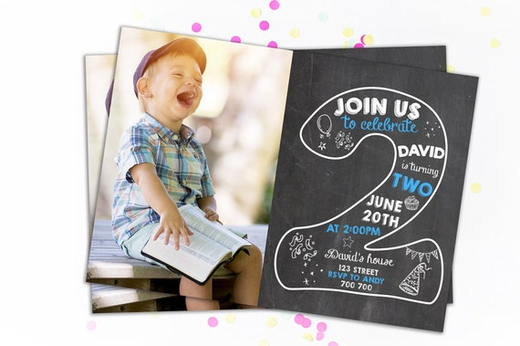 Second Birthday Invitation Boy Invitations 2nd