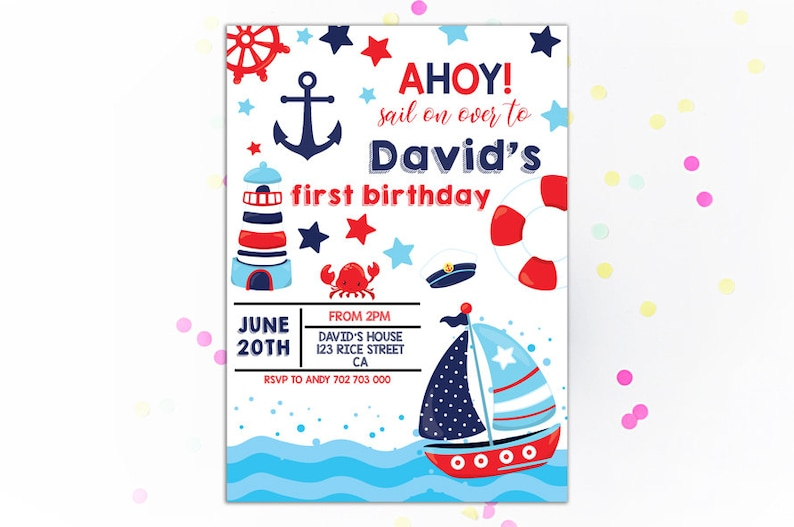 Nautical Birthday Invitation Sail Boat Boy Invitations 1st Sailing AHOY