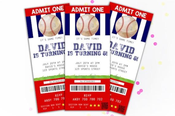 baseball invitation baseball ticket invitation boy birthday etsy
