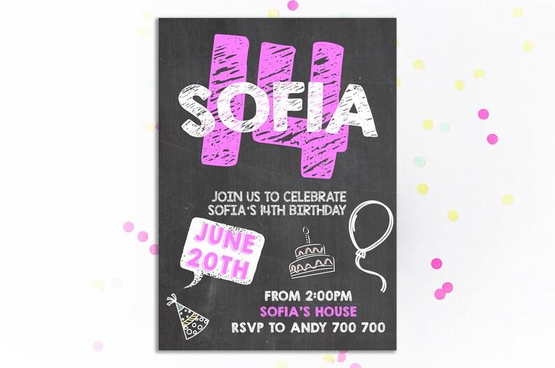 14 Geburtstag Einladung Mädchen Geburtstagseinladung 14 Etsy