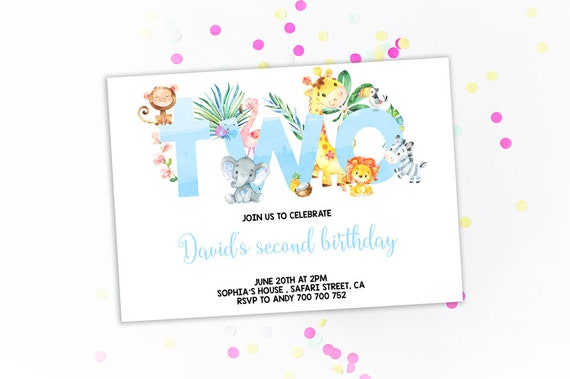 Jungle 2nd Birthday Invitation Boy Invitations Second Invites Theme Safari Animals Zoo Blue Watercolor