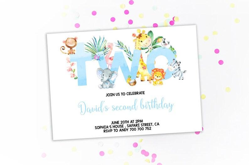 Jungle 2nd Birthday Invitation Boy Invitations Second Invites Theme Safari Animals Zoo Blue Watercolor