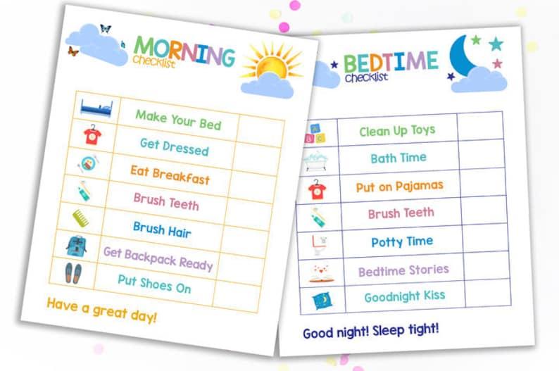 Morning Bedtime Checklist Printable Morning Chart Kids Chart Etsy
