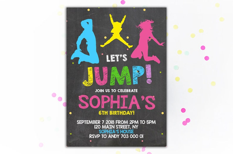 Jump Birthday Invitation Trampoline Party Invite Bounce House
