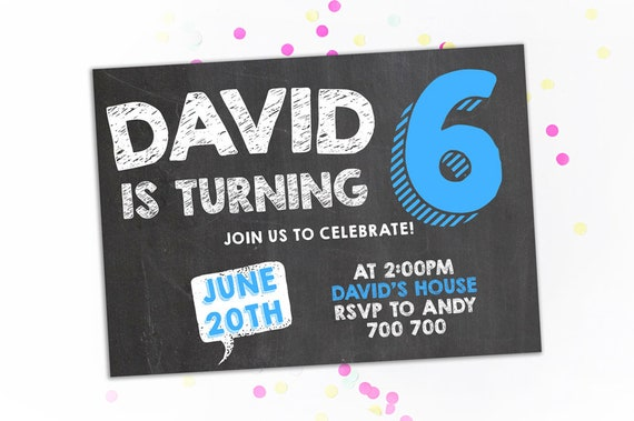 6th Birthday Invitation Boy Sixth Chalkboard Invite Number 6 Six Blue Party Printable Invites Kids