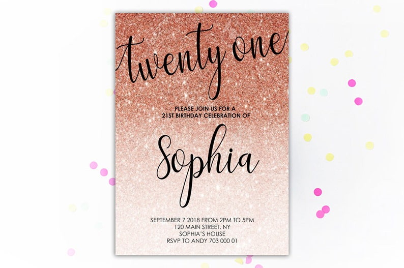 21st Birthday Invitation Rose Gold Glitter Twenty One
