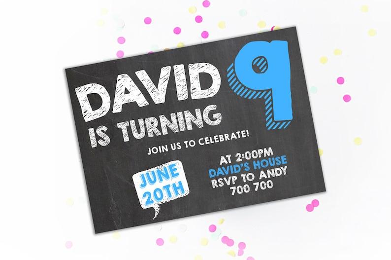 9th Birthday Invitation Boy Ninth