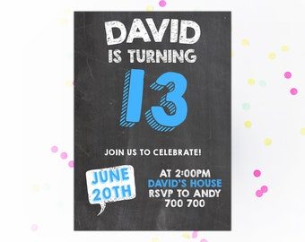 13th birthday invite Etsy