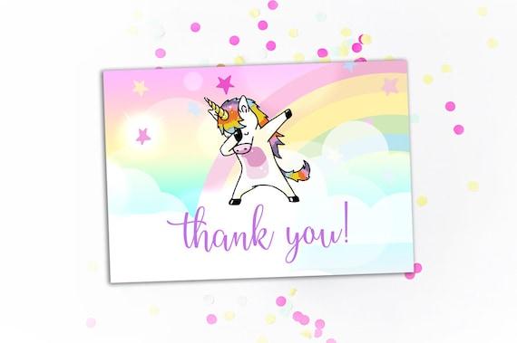 Dabbing Unicorn Thank You Card Birthday Thank You Note Dab Etsy