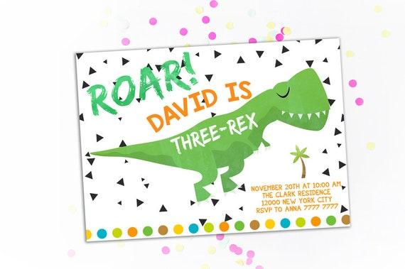 Dinosaur Invitation Boy Dino Birthday Invitations 3rd