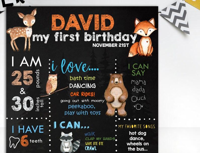 Woodland First Birthday chalkboard sign Forest Wild Animals Chalkboard Poster Birthday Party Sing Boy 1st Birthday Woodland animals Sing