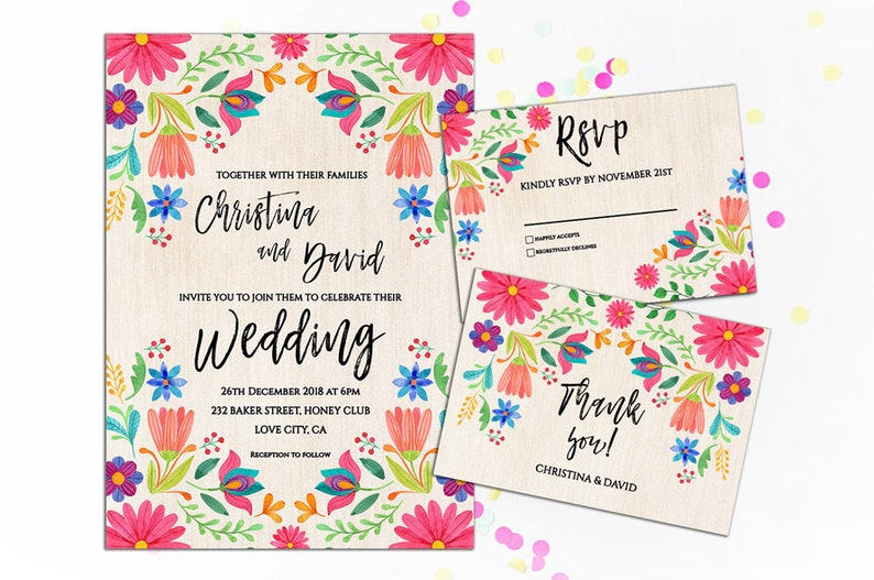 Colorful Mexican Wedding Invitation Fiesta Wedding Invitation Etsy
