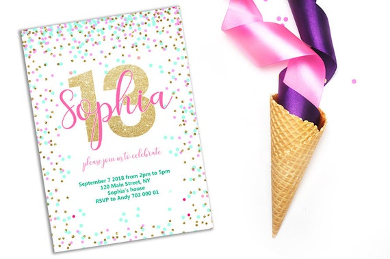 13th Birthday Invitation Pink Teal Gold Confetti