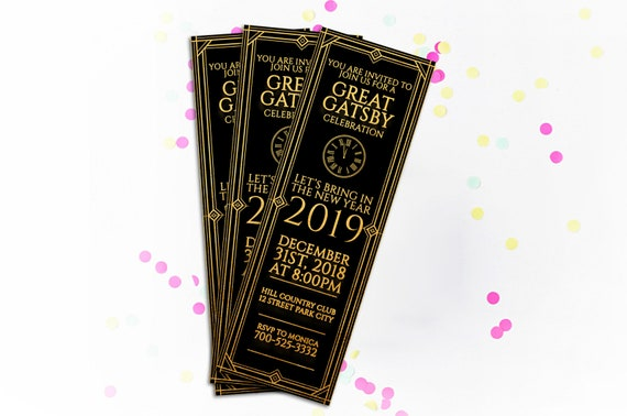 DIY Printable Gatsby New Year's Eve Ticket Invitation