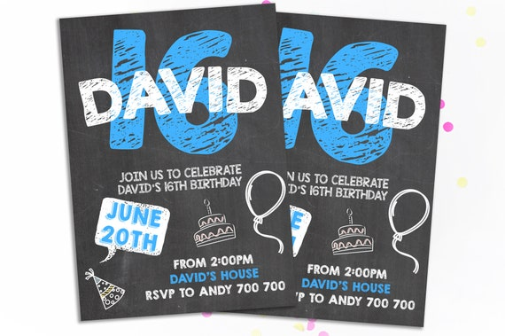 16th Birthday Invitation Boy