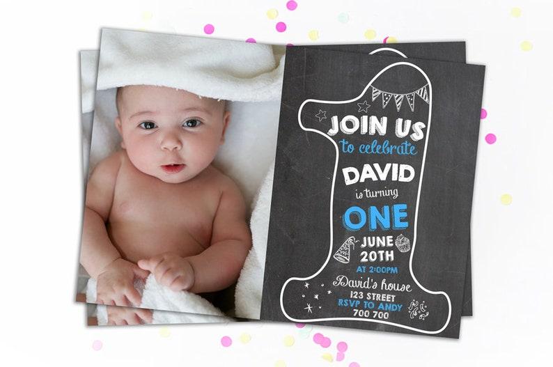 First Birthday Invitation Boy Invitations 1st