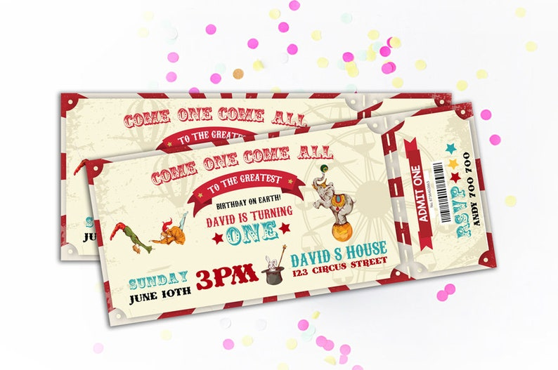 Circus Vintage Ticket Birthday Invitation Carnival Invite Theme Party Printable