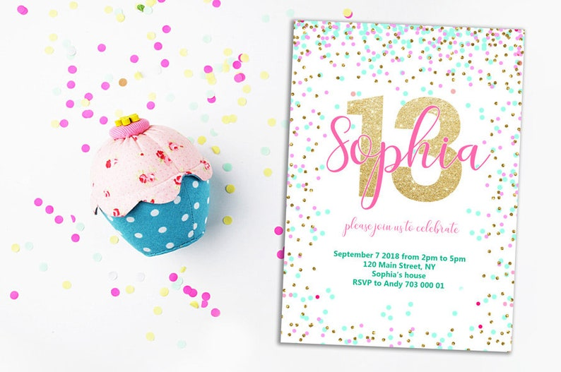 13th Birthday Invitation Pink Teal Gold Confetti