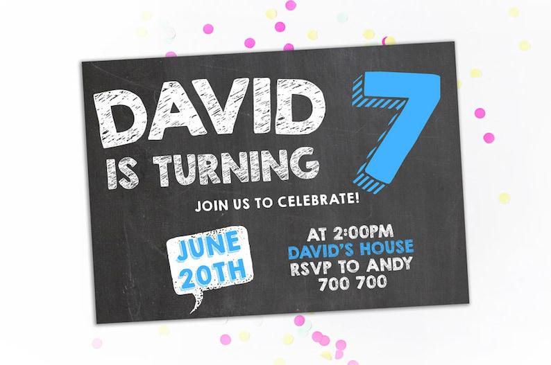 7th Birthday Invitation Boy Seventh Birthday Invitation Chalkboard Birthday Invite Number 7 Seven Blue Birthday Party Printable Invites Kids