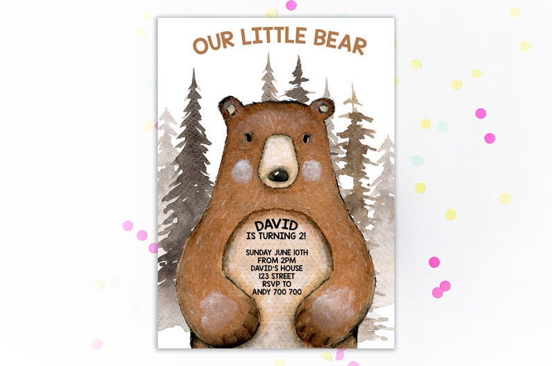 Bear Birthday Invitation Printable Invitations Party Boy Little Lumberjack Woodland Forest Camping Invites Kids