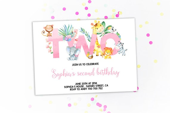 Jungle 2nd Birthday Invitation Girl Invitations