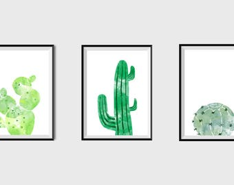 Set of 3 Cactus Print Cactus Wall Art Tropical Wall Art Watercolor Cactus Art Desert Nursery Modern Botanical Print Minimalist Printable art