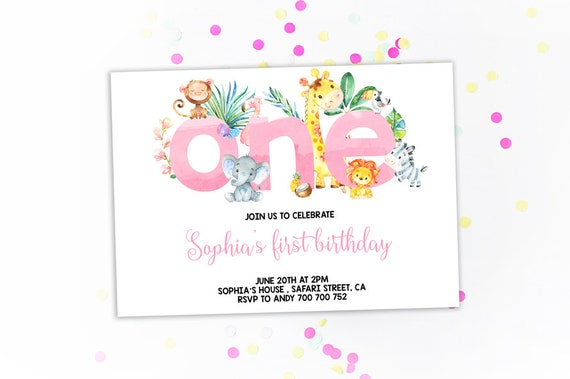 Jungle 1st Birthday Party Invitation Girl Pink Watercolor Etsy
