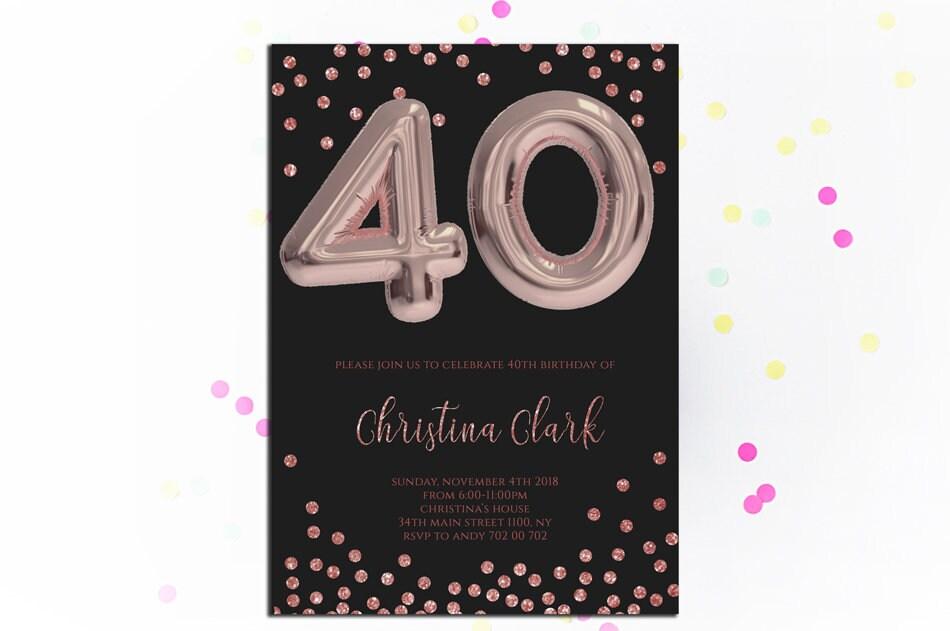 40th Birthday Invitation Rose Gold Invitations